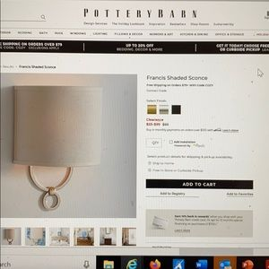 Pottery barn light fixtures sconce (silver)